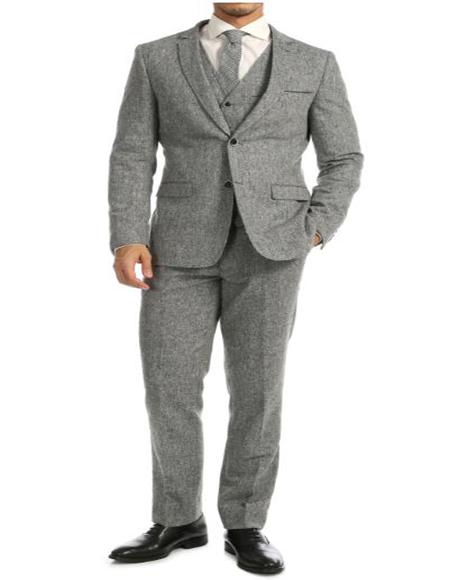 Tweed 3 Piece Suit - Tweed Wedding Suit Grey Big and Tall Notch Lapel Tweed Suit