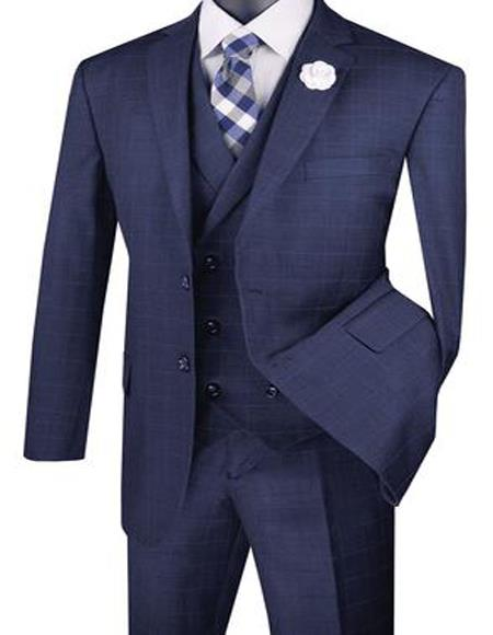 Mens Navy Plaid Pattern Two Flap Front Pockets Suit