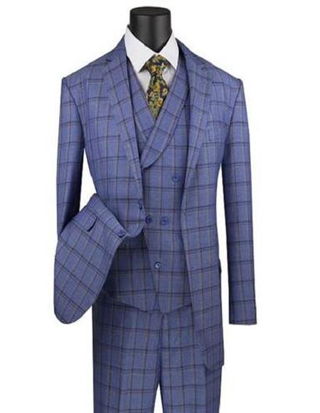 Blue Two Button Rayon Notch Lapel Suit for Men