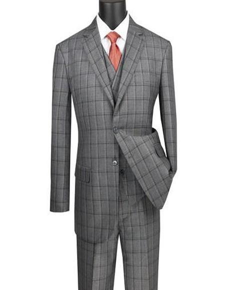 Gray Rayon Super 150's Notch Lapel Suit for Men