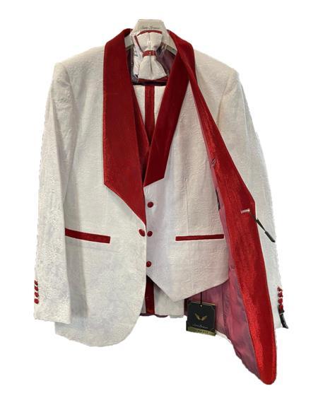Prom Wedding Paisley Floral Tuxedo Jacket ~.Blazer White and Red
