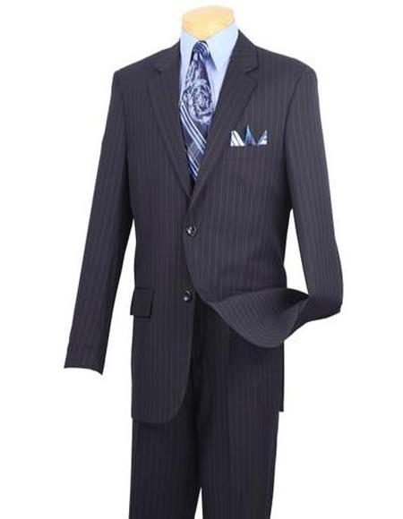 Navy Blue Single Breasted Big And Tall Pin Mens Suit