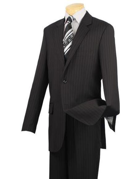 Black One Chest Pocket Big And Tall Pin Mens Suit