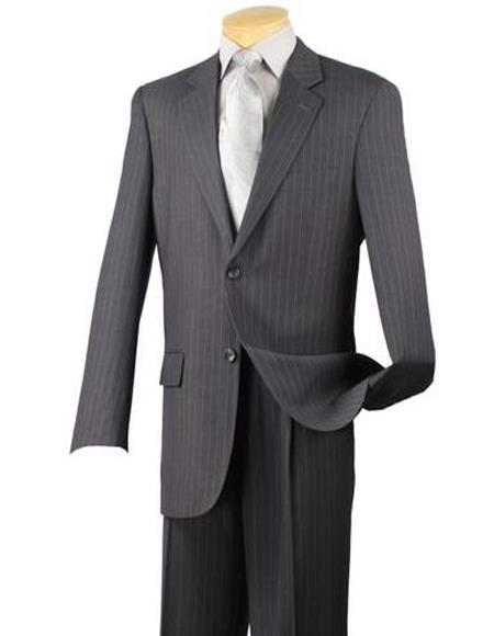 Charcoal Gray Big And Tall Pinstripe Pattern Mens Suit