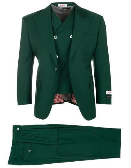 Olive Green ~ Hunter Green 1940s mens suits style Pleated Classic Fit Athletic Fit Cut Wool Fabric