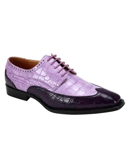 Mens Purple ~ Lilac Lace Up 5 Eyelet Lacing Wingtip