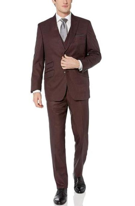 Mens Burgundy Hook-and-Button Closure Flat Front Modern fit suit - 3 Piece Suit For Men - Three piece suit