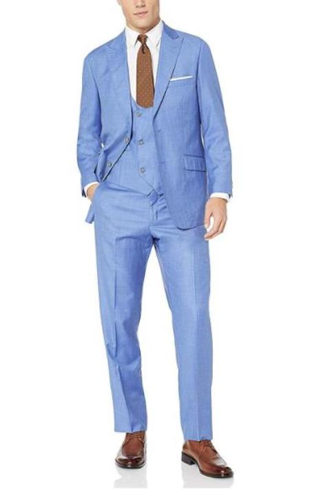 Mens Blue 57% Polyester 35% Viscose 8% Wool Double Breasted Suit - 3 Piece Suit For Men - Three piece suit