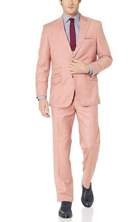 Mens Salmon 57% Polyester 35% Viscose 8% Wool Double Breasted Suit - 3 Piece Suit For Men - Three piece suit