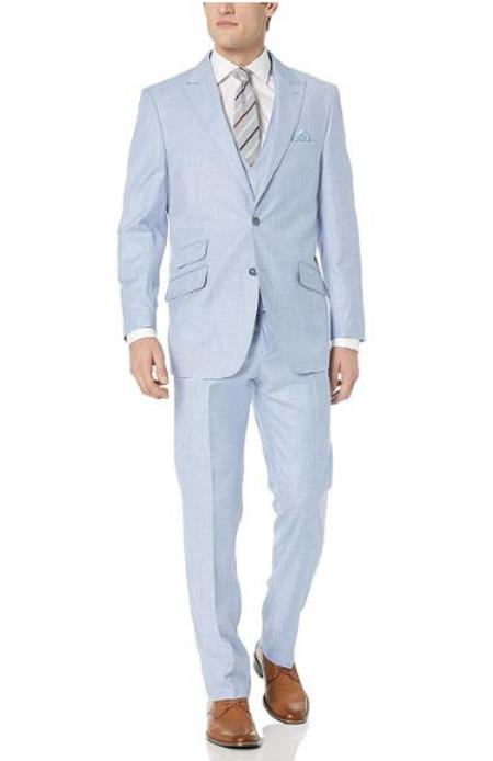 Mens Light Blue 57% Polyester 35% Viscose 8% Wool Double Breasted Suit - 3 Piece Suit For Men - Three piece suit