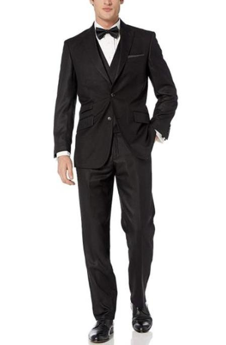 Mens Black Hook-and-Button Double Breasted Modern fit suit - 3 Piece Suit For Men - Three piece suit