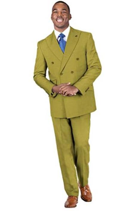 Classic Fit Suit Stacy Adams Suits Mens 2-Piece Peak Lapel Solid Double Breasted 1930 Suit Chestnut
