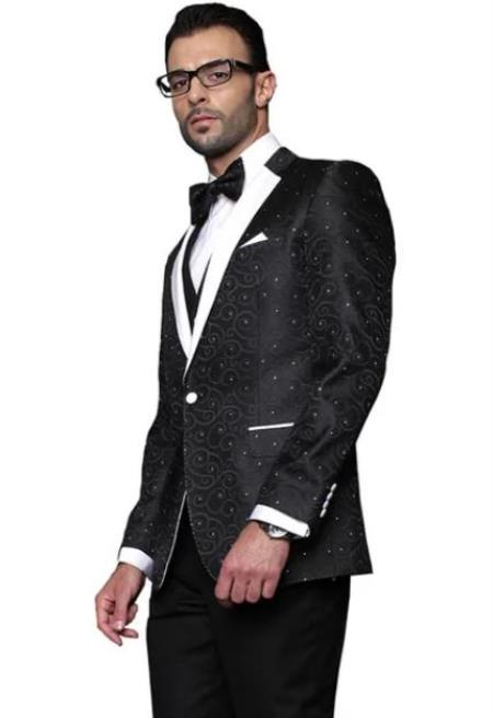 Paisley Floral Suit & Tuxedo Jacket and Pants and Bow Tie Black