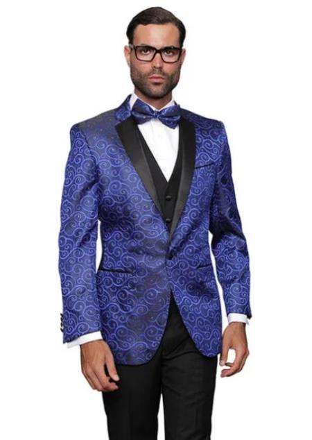 Paisley Floral Suit & Tuxedo Jacket and Pants and Bow Tie Royal Blue