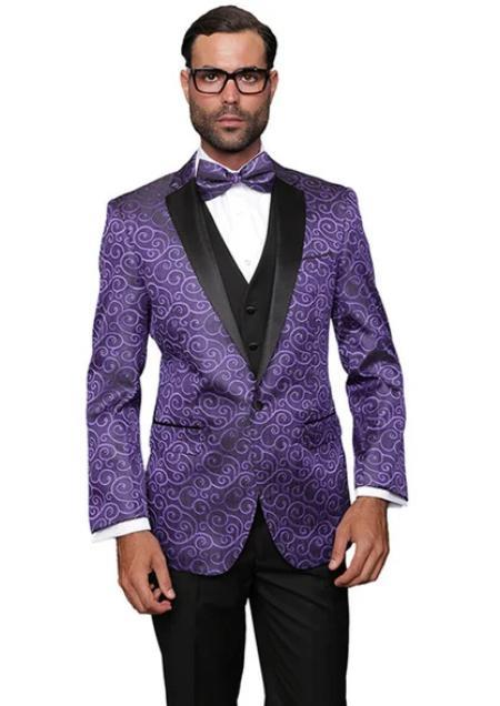Paisley Floral Suit & Tuxedo Jacket and Pants and Bow Tie Purple
