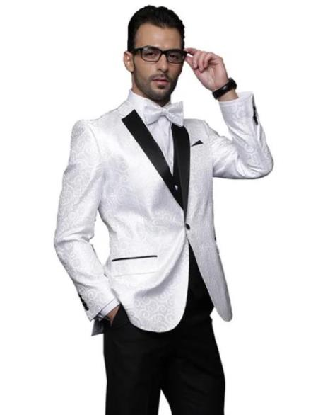 Paisley Floral Suit & Tuxedo Jacket and Pants and Bow Tie White