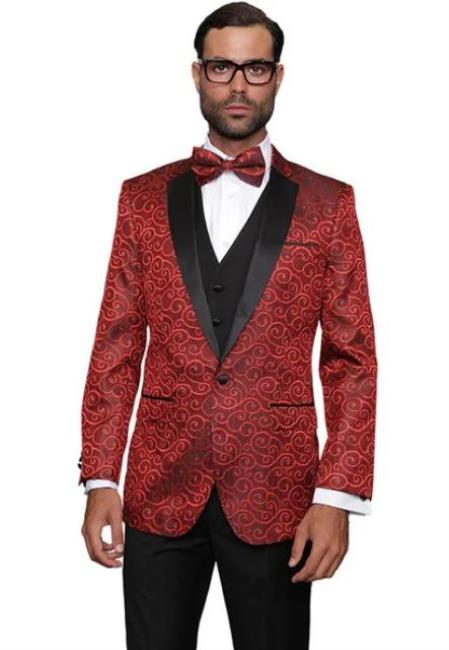 Paisley Floral Suit & Tuxedo Jacket and Pants and Bow Tie Red