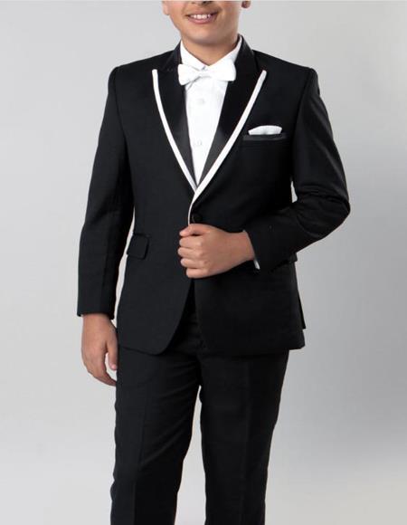 Boys Tuxedo Black with White Trim 4 -Piece Set for Kids Teen Children - Ring Bearer - Wedding - High