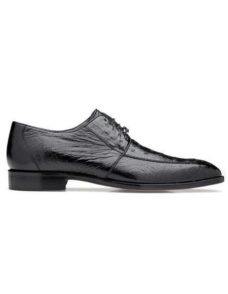 Mens Rovigo Ostrich Dress Shoes Black