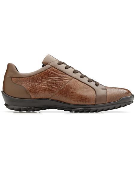 Mens Arena Ostrich & Calfskin Sneakers Honey