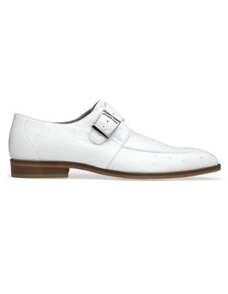 Mens Josh Ostrich Monk Strap Shoes White