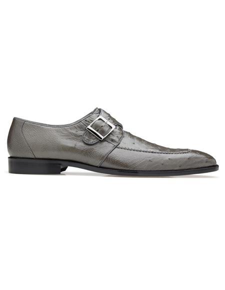 Mens Josh Ostrich Monk Strap Shoes Gray