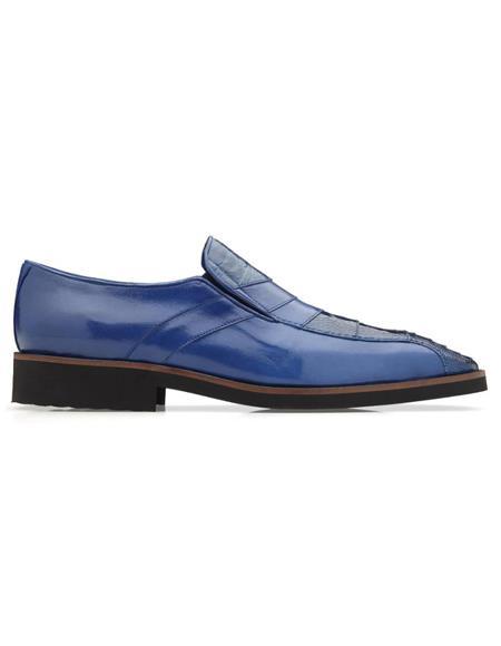 Mens Gavino Ostrich & Calfskin Loafers Royal Blue
