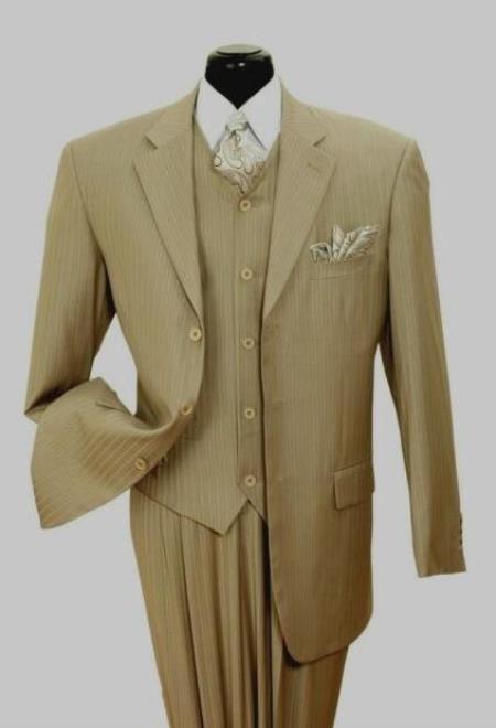 Mens Tan/Stripe Notch Lapel Big And Tall Suit