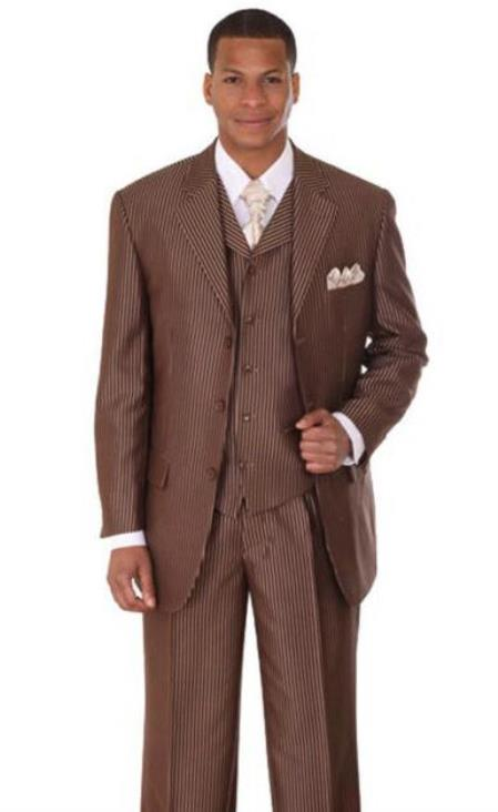 Brown Three Button Big And Tall Mens Suit
