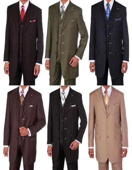 Black/Red Stripe 3 Button Big And Tall Mens Suit