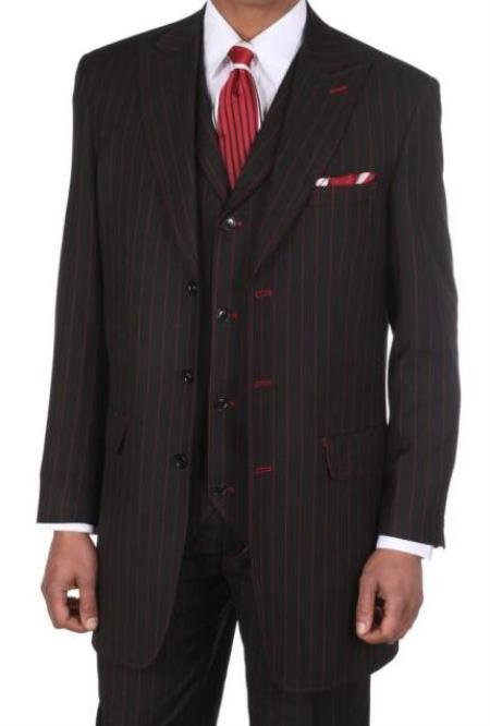 Black/Red Classic Fit Big And Tall Mens Suit