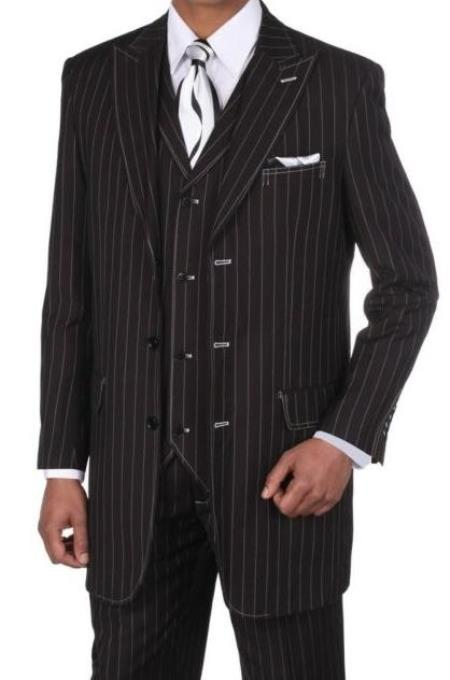 Black Regular Fit Striped Big And Tall Mens Suit