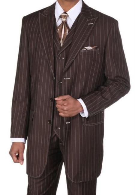 Brown Poly Rayon Peak Big And Tall Mens Suit