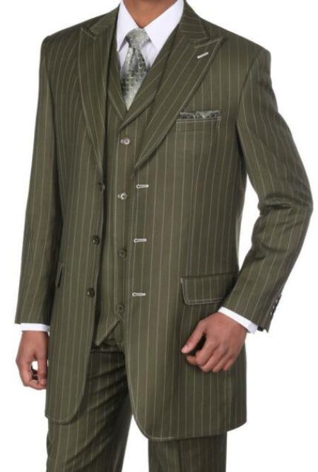 Olive Three Button Classic Fit Big And Tall Mens Suit