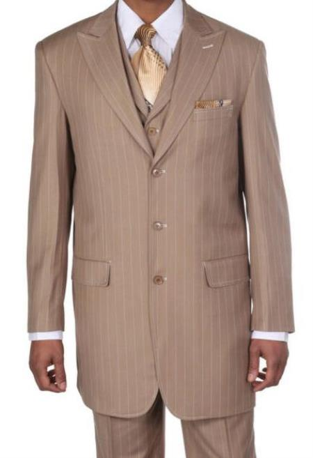 Tan Poly Rayon Striped Big And Tall Mens Suit