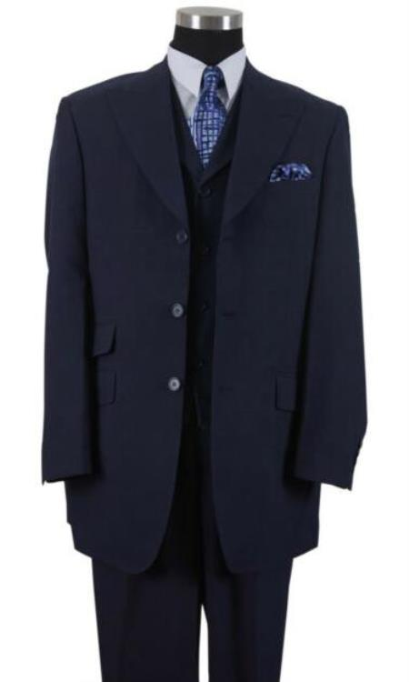 Blue Single Breasted Big And Tall Mens Suit