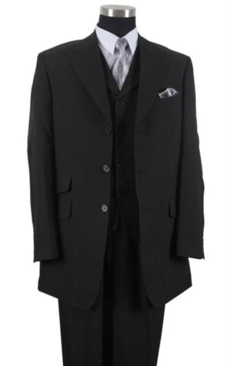 Black One Chest Pocket Big And Tall Mens Suit