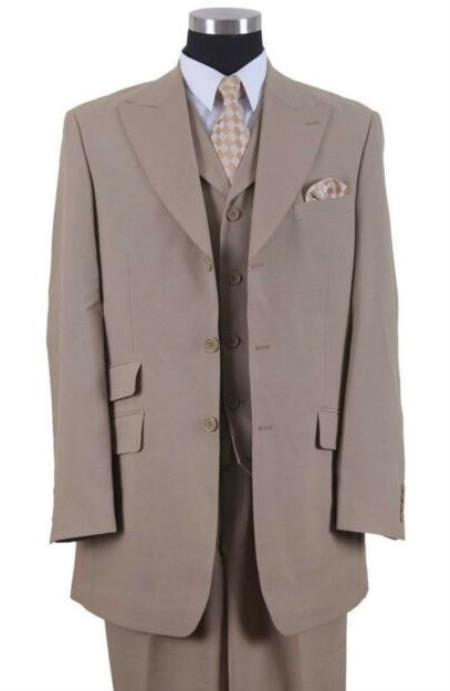 Tan Two Flap Front Pockets Big And Tall Mens Suit