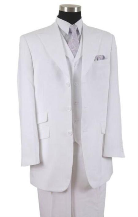 White Peak Lapel Three Button Big And Tall Mens Suit