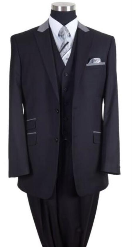 Black/Gray Peak Lapel Big And Tall Mens Suit