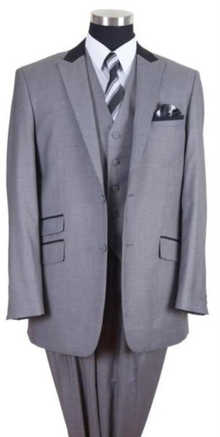 Grey Three Button Big And Tall Mens Suit