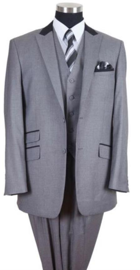 Grey Single Breasted Ticket Pocket Big And Tall Mens Suit