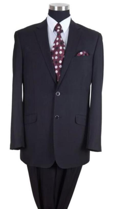 Black Notch Lapel Big And Tall Mens Suit