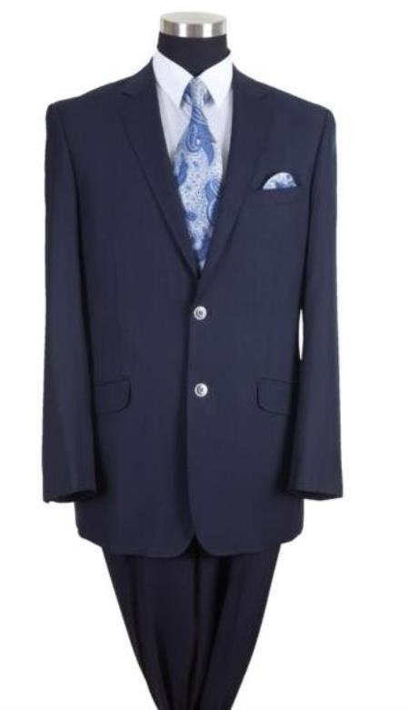 Navy Two Flap Front Pockets Big And Tall Mens Suit