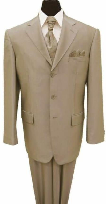 Tan 3 Button Notch Lapel Big And Tall Mens Suit
