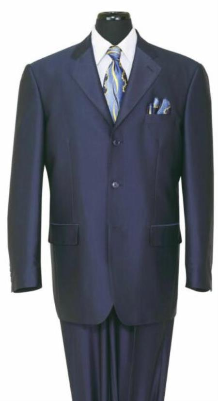 Navy Single Breasted Front Pockets Big And Tall Mens Suit