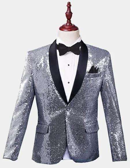 Silver Sequin Tuxedo Jacket Perfect For Prom Clothe - Prom Outfits For Guys