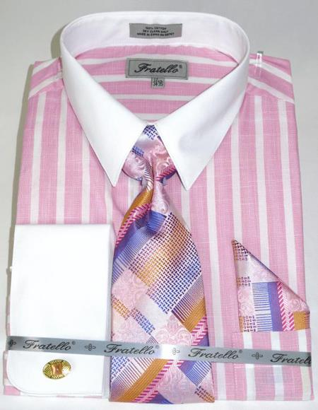 Pink Colorful Pinstripe Pattern - White Collared - French Cuffed Mens Dress Shirt