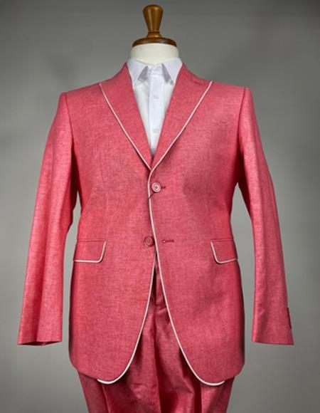 Linen Summer Tuxedo Trimmed Lapel Jacket and Pants