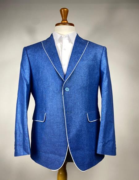 Mens Royal Blue Color Linen Blazer - Sport Coat
